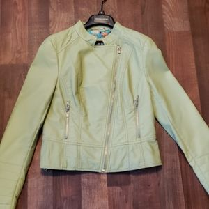 Jackets & Blazers - Light green leather coat with zipper accents.